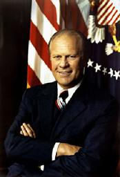 "Born in Omaha, Nebraska, in 1913, Gerald R. Ford grew up in Grand Rapids, Michigan. He starred on the University of Michigan football team, and then went to Yale where he served as assistant coach while earning his law degree. During World War II he attained the rank of lieutenant commander in the Navy. After the war he returned to Grand Rapids, where he began the practice of law, and entered Republican politics. In 1948 he was elected to Congress where he developed a reputation for integrity and openness. That reputation made him popular during his twenty-five years in Congress where he served as House Minority Leader from 1965 to 1973. Ford was initiated in Freemasonry on September 30, 1949 in Malta Lodge No. 465 in Grand Rapids, Michigan. In 1951 he received the passed and raised a Master Mason in Columbia Lodge No. 3 in Washington, D.C. as a courtesy for Malta Lodge while Ford served in Congress. When Ford took the oath of office as President on August 9, 1974, he declared, ""I assume the Presidency under extraordinary circumstances.... This is an hour of history that troubles our minds and hurts our hearts."" It was indeed an unprecedented time. He had been the first Vice President chosen under the terms of the Twenty-fifth Amendment and, in the aftermath of the Watergate scandal, was succeeding the first President ever to resign. President Ford won the Republican nomination for the Presidency in 1976, but lost the election to his Democratic opponent. Following his years as president, Ford remained active in the Republican Party. After experiencing health problems and being admitted to the hospital four times in 2006, Ford died in his home on December 26, 2006. He lived to an older age than any other U.S. president in history, dying at the age of 93."